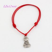 Hot ! 10pcs Adjustable Bracelets Red Waxes rope Antique silver Alloy Guanyin Charms Charm Bracelet B-30