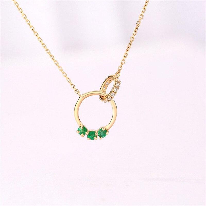 Collier pendentif émeraude au trésor naturel coloré en or 14k article bijoux 45mm longueur de la chaîne 1.34g chaîne en or bijoux de qualité cadeau
