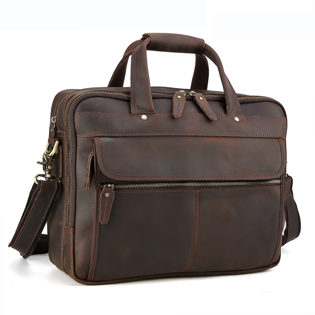 Tiding Men Leather Travel Briefcases 15.6