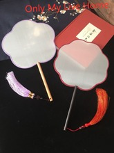 Round Blank White Mulberry Silk Fan Handle Traditional Craft Chinese decorative Hand Fans Adult DIY Embroidery Painting