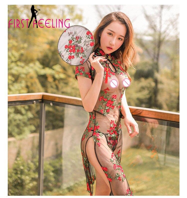 Amazing Perfectly Women Vintage Sheer Lace Cheongsam