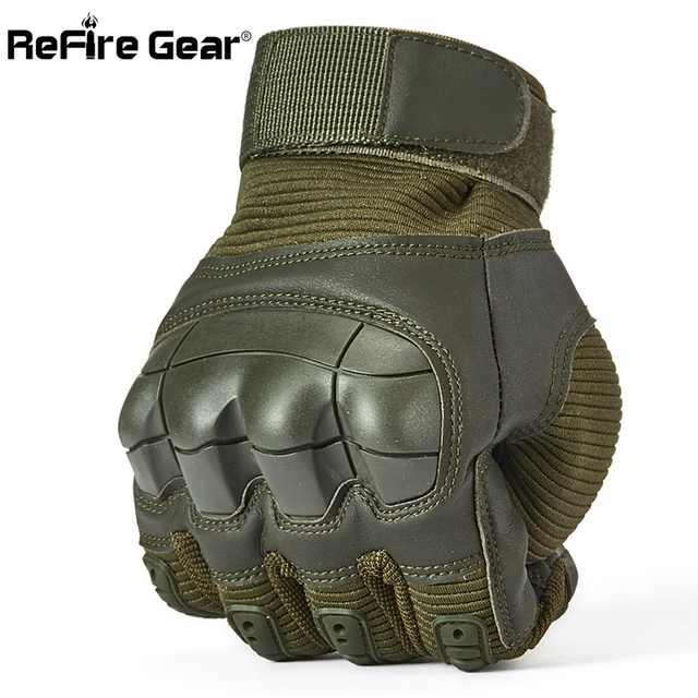 ReFire Gear Men's Full Finger Military Tactical Gloves SWAT Army Combat Paintball Shoot Gloves Man Shell Knuckles Bicycle Gloves