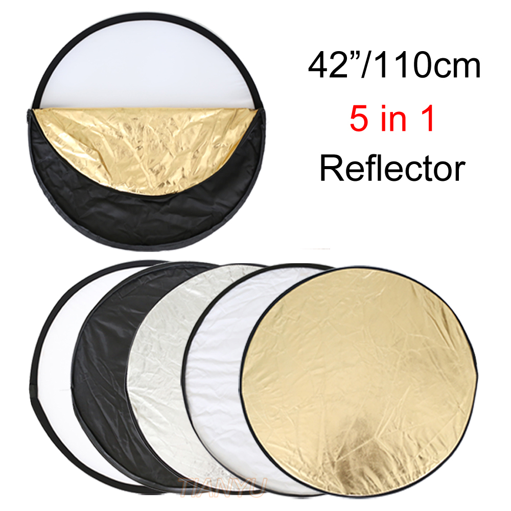 Free shipping 5 in 1 110cm 42″ Portable Collapsible Light Round Photography Reflector for Studio Multi Photo Disc