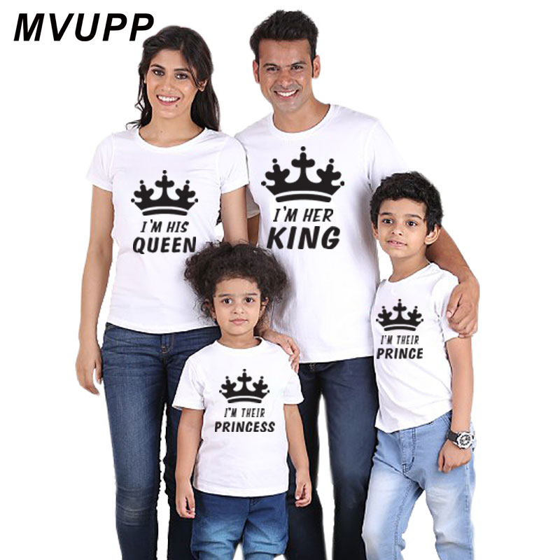 his her king queen prince princess baby outfits matching clothes dress t shirt for family