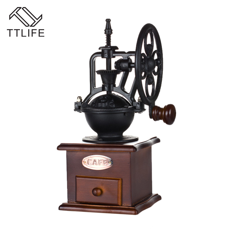 TTLIFE Classic Coffee Grinder Household office restaurant bar manual coffee mill coffee grinder retro big wheel