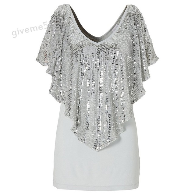 6c37ac35c35a4 Brand New loose top women 2017 Summer Plus size Sequin Glitter Tops Shirt  Short Sleeve Casual