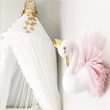 Cute Golden Crown Swan Wall DecorationDoll Pink Princess Swan Stuffed Toys Animal Head Wall Hanging for Kids Room Baby Gift