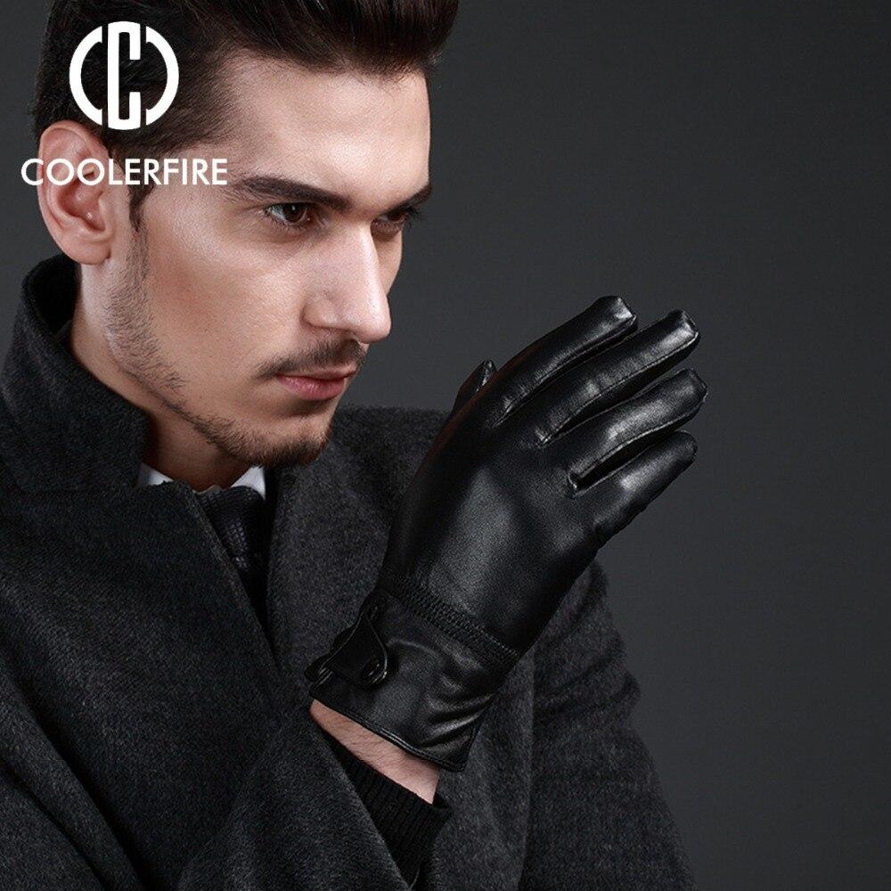 New Designer Gloves For Men High Quality Genuine Leather Sheepskin Mittens Warm Winter Men's Gloves Black Male Glove ST027