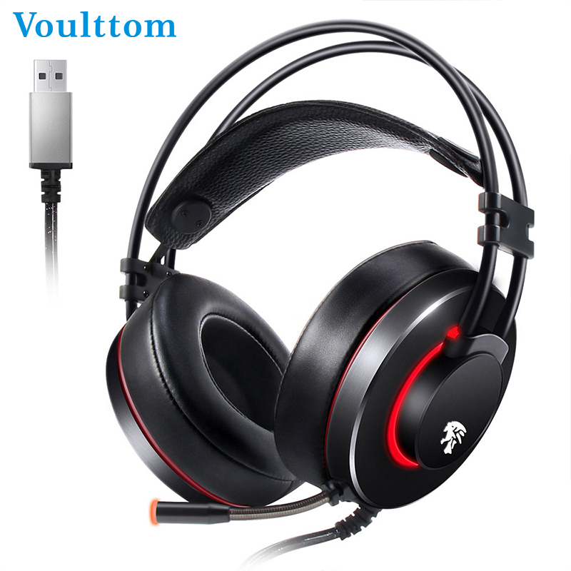 Voulttom Wired Headphones with Microphone 3m USB cable for Game Player Stereo Fully Enclosed Dynamic Studio Monitor Headphones ovleng q8 usb wired stereo headphones w microphone white red black