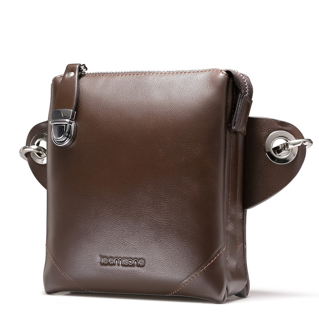 teemzone  MenGenuine Leather Shoulder Messenger Cross Body Satchel Day Fanny zipper Waist Pack Handbag Bag Wallet 4 Size S4001