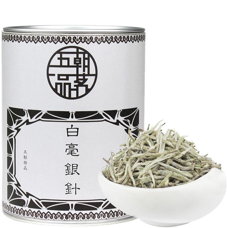 Thé blanc, 2017 Fujian thé Premium aiguille en argent 75g/étain Baihaoyinzhen Bai Cha Bai Hao Yinzhensilver aiguille boîte de thé en vrac