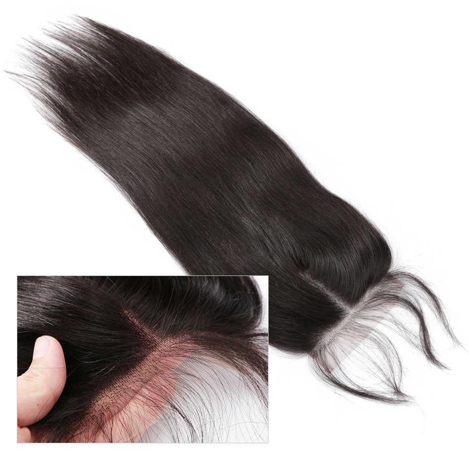Бразильские пучки плетения с закрытием фронтальной rosabeauty 28 30 дюймов Remy прямые пучки с синтетическим закрытием человеческих волос