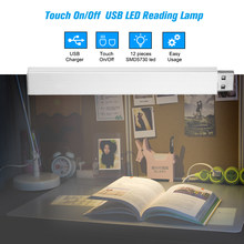 Usb Powered Led Leeslamp Draagbare Usb Strip Licht Touch Op/Off 12 Leds Nachtlampje Aluminium Shell Camping lamp(China)