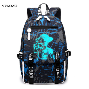 Image 1 - Cartoon Japan Anime One Piece Luminous Backpack Fashion Monkey D Luffy Cosplay Student Large Capacity Schoolbag Bagpack Mochila