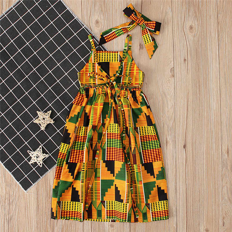 Платье принцессы для маленьких девочек в африканском стиле с принтом и открытыми плечами; Повседневное платье; vestido robe fille #4j12