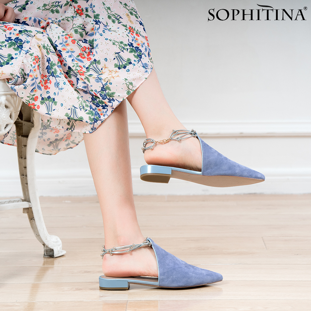SOPHITINA Genuine Leather Flats New Ankle Strap Pointed Toe Comfortable Lady Casual Shoes Luxury Handmade Mules