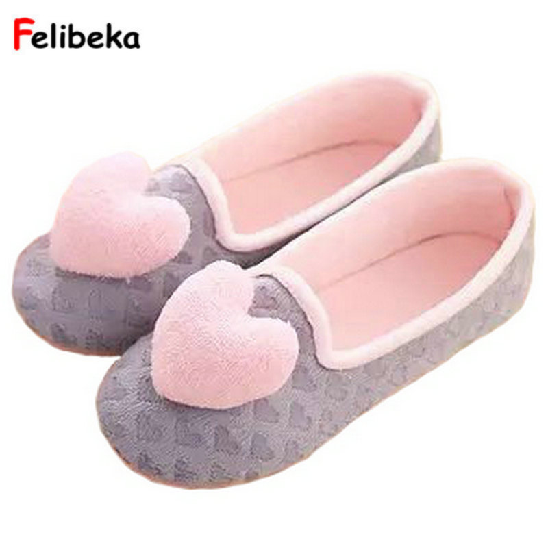 Drop shipping Home Furnishing indoor warm shoes women hearts pink/grey Coral fleece House slippers concise Covered Heel Shoe siketu 2017 women home slippers spliced warm pregnant women shoes best gift drop shipping dec27