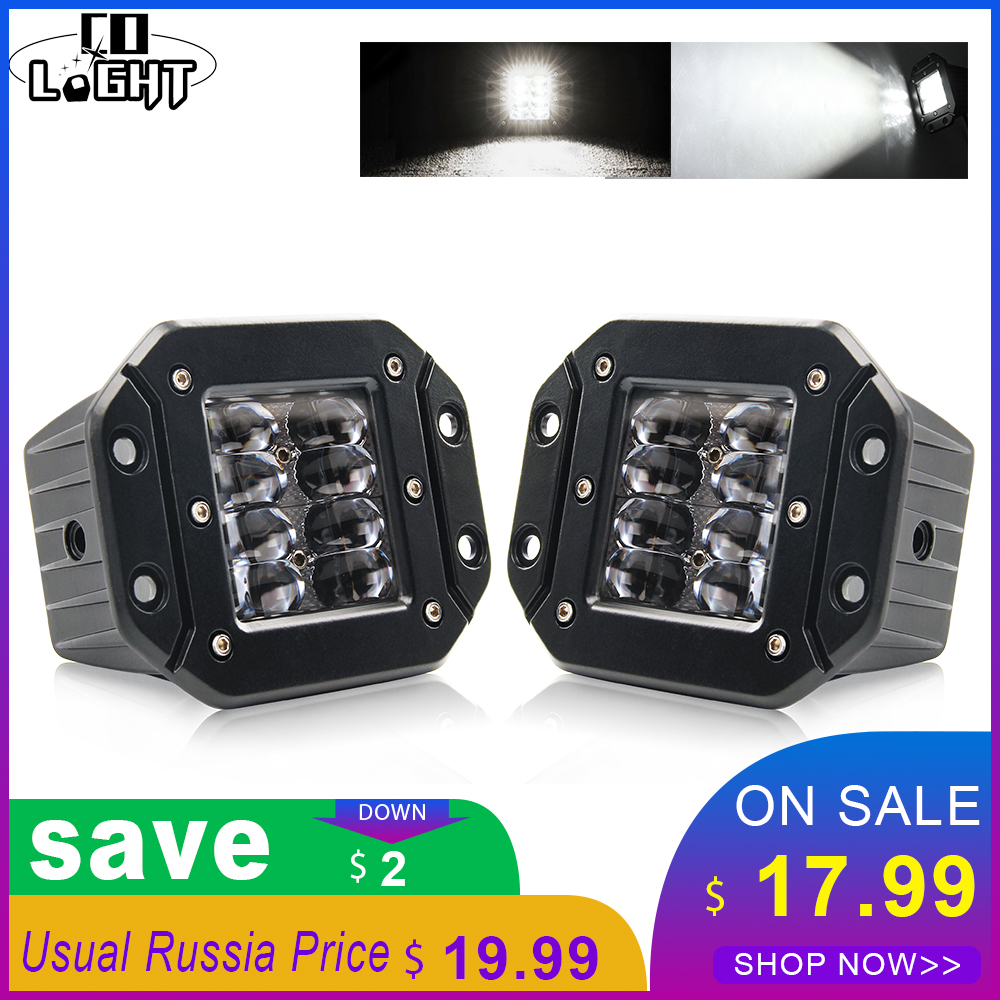 CO LIGHT 9D 5'' 40W Flood LED Work Light Bar Flush Mount Pods Strobe Work Lamp Daytime Running Light Bar For 4X4 Boat SUV Truck