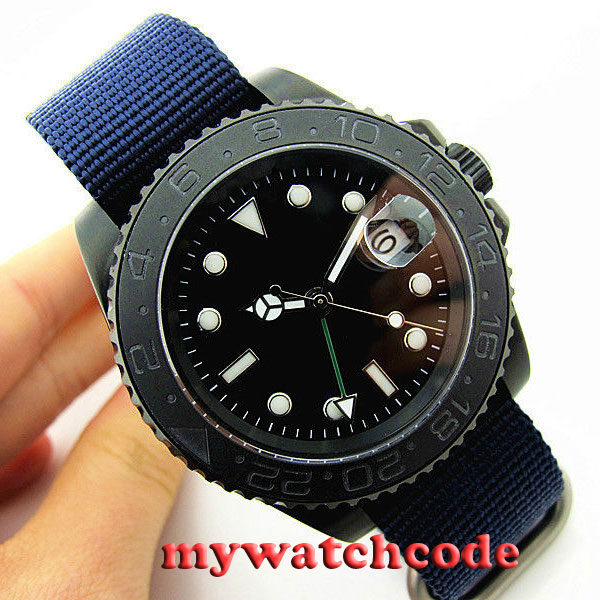 40mm parnis black GMT ceramic bezel PVD sapphire crystal automatic mens watch P407