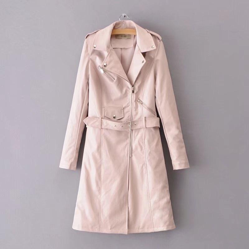 Nouveau Gros Cuir Faux Voguein Femmes Manteau Long Mode pink 2018 4 Ceinture Couleurs En Black Vestes burgundy Avec SB5Bwq64x