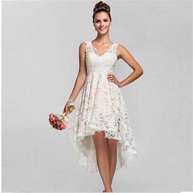 2016 Summer High Low Lace Beach Wedding Dresses Plus Size Sexy V