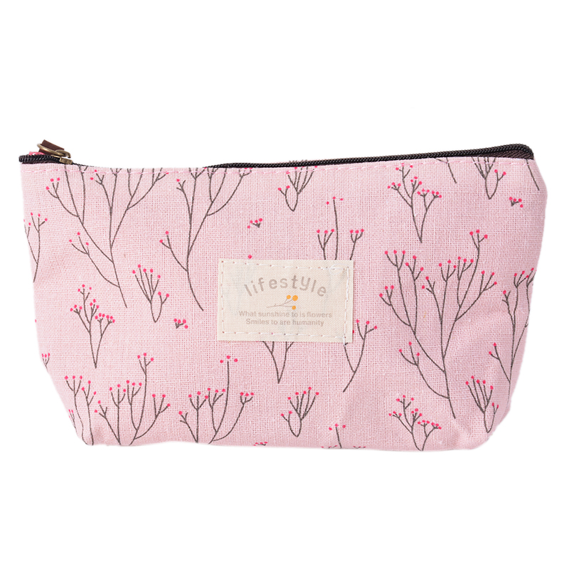 Cosmetic-Bags Canvas Multi-Functional Floral-Print Zipper Large-Capacity Fashion Women's