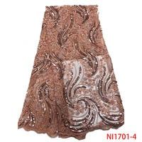 Malaysia Lace Embroidery Fabric Bridal Beaded Embroidery Lace Fabric Lace Embroidery Fabric Sequin QF1701 4