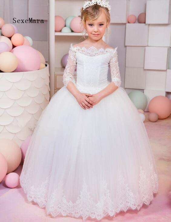 White Lace Ball Gown Flower Girls Dresses for Wedding Off the Shoulder Lace Up Back Half Sleeves Communion Gown Custom Any Size white lace details off shoulder bell sleeves crop top