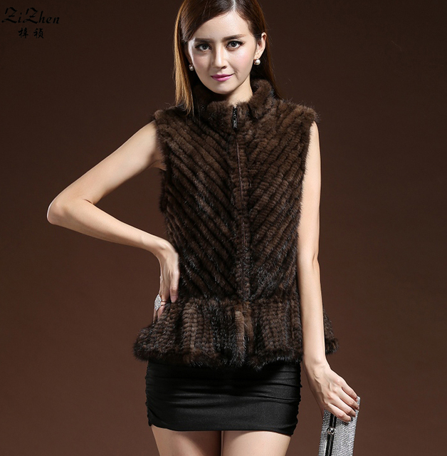 Women's Genuine Knitted Mink Fur Vest Natural Mink Fur Coat Autumn Winter Real Mink Fur Gilet Waistcoat For Female 14F0808-5