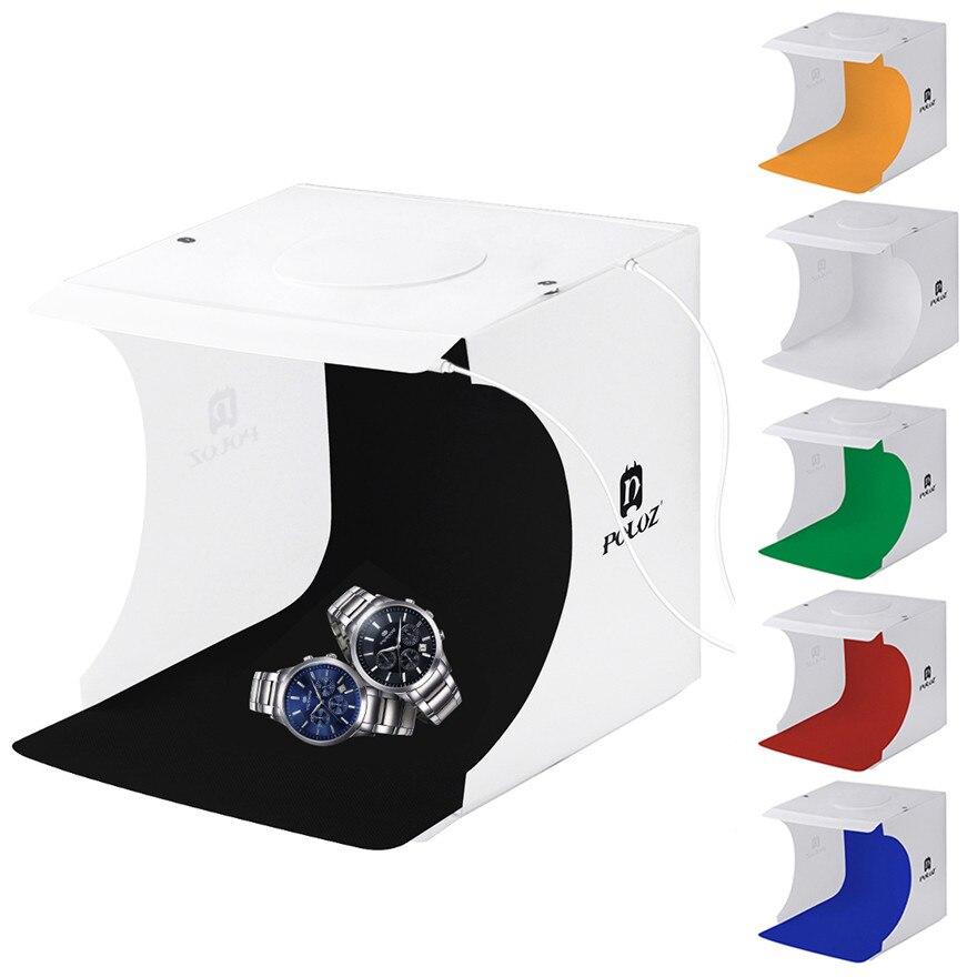Mini Folding Studio Diffuse Soft Box Lightbox With LED Light Black White Photography Background Photo Studio Box for Camera