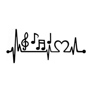 Musical Note Electrocardiogram Heartbeat Car Styling Window Laptop Sticker Decal PET Reflective Material 1