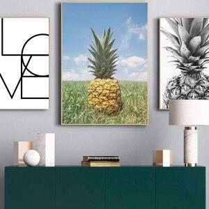 Image 4 - Ananas mur Art toile affiches imprime nordique amour lettres toile peinture sur le mur noir blanc Art photos pour la décoration intérieure