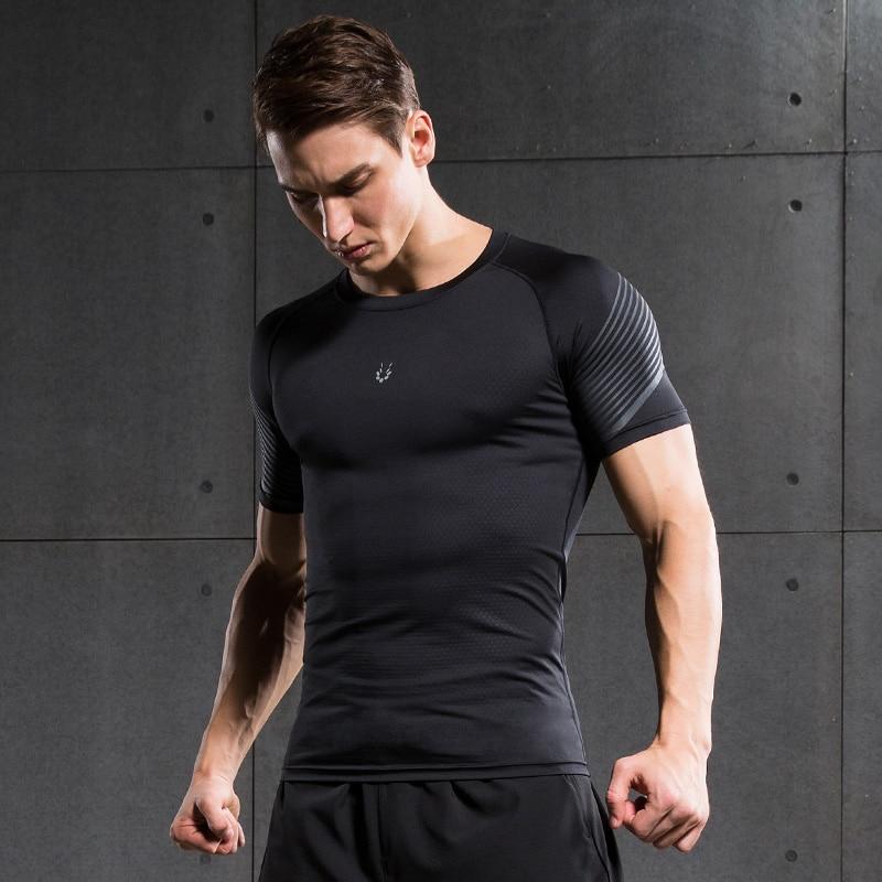 Vansydical Compression Shirt Gym Mens Sports Fitness Compression Shirt Men Bodybuilding Long Sleeve T Shirt Crossfit Tops Shirts Harmonious Colors Sports & Entertainment