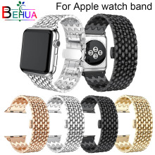 For apple link bracelet strap for apple watch band 42mm/38mm/44mm/40mmFor iwatch series 4/3/2/1 metal wrist belt clock watchband durable nylon leather strap band for apple watch 3 2 1 42mm 38mm wrist watchband with classic metal buckle bracelet for iwatch