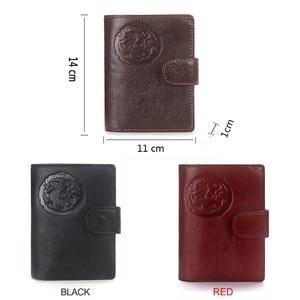 Image 5 - Portomonee homem carteira curta walet carteira de couro genuíno com titular do cartão capa de passaporte