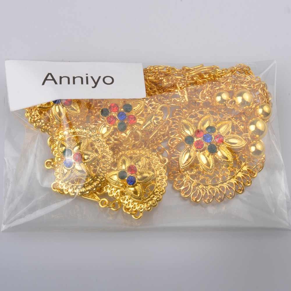 Anniyo 65cm Halskette und Ohrringe für Frauen Gold Colo Arabischen Nahen Osten Hochzeit Schmuck Katar Dubai Saudi-arabien Geschenke #088706