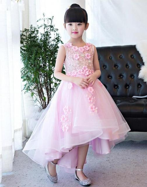1 12T Pink Lace Long Trailing Wedding Dress Flower Girl Dresses Appliques First Communion