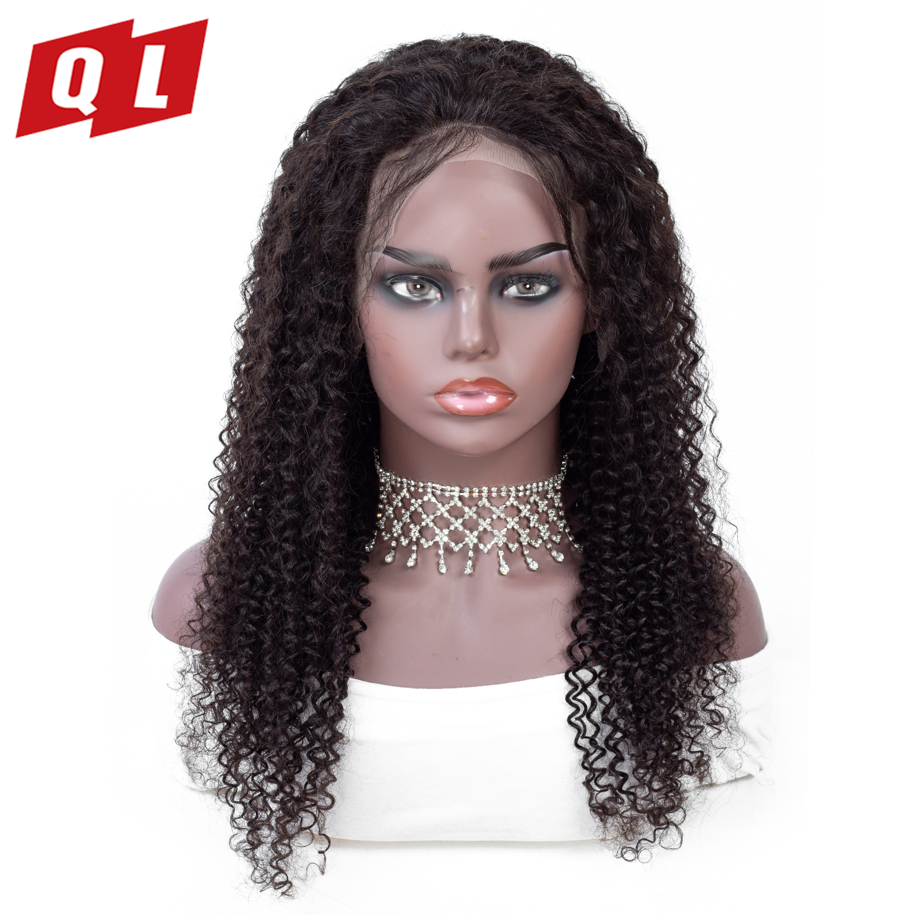 QLOVE 13 by 4 Lace Front Wigs Malaysian Curly Human Hair Lace Front Wigs For Women