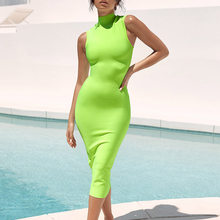 High Neck Sleeveless 2019 Sexy Newest Arrival Women's Party Club Neon Green Bandage Midi Dress(China)