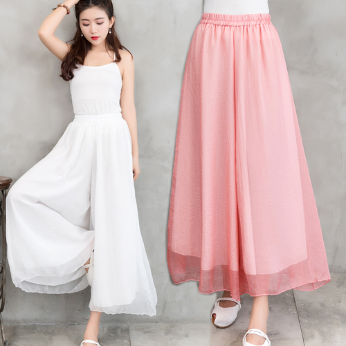 Artistic Vintage Casual Chiffon   Wide     Leg     Pants   Elastic Waist Loose Trousers Women Elegant Chinese Style Women   Pants