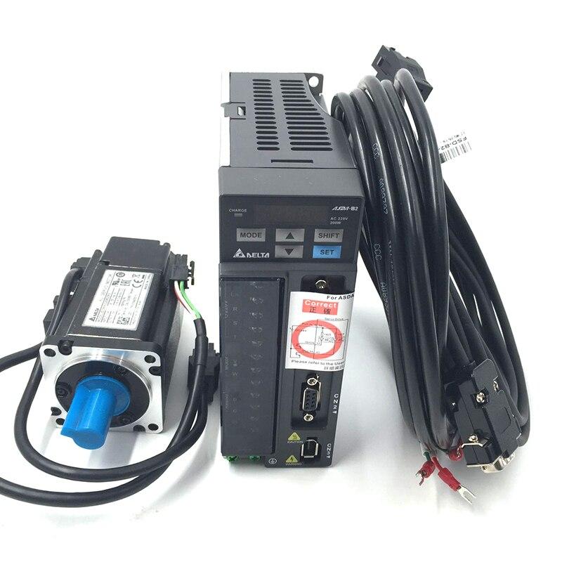 CNC Delta 200 w AC Servo Moteur kit Système 220 v 0.64NM 1.55A 60mm avec 3 m de Câble ECMA-C20602RS + ASD-B2-0221-B