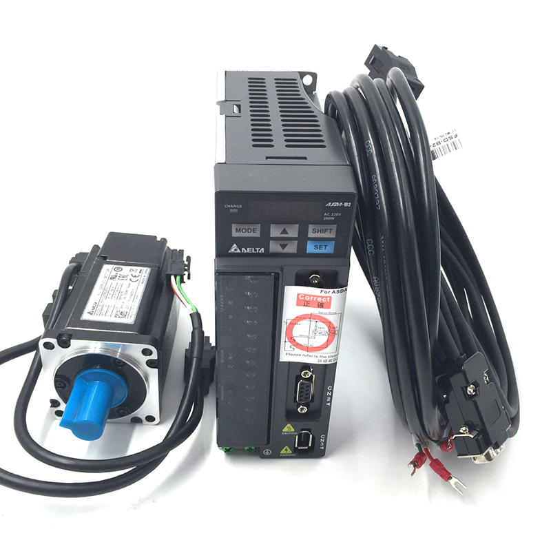 CNC Delta 200W AC Servo Motor Drive kit System 220V 0.64NM 1.55A 60mm with 3M Cable ECMA-C20602RS+ASD-B2-0221-B leadshine cnc servo motor 200w nema24 60mm acm6002l2h a0 b l5 400 220v ac servo motor drive 0 64nm 3000r min 1 5a with 3m cable