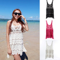 Women's Lace Crochet Cover Up Swimwear Bikini Sleeveless Beach Long Dress Tops