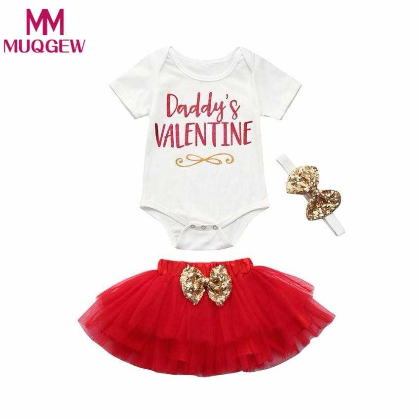 28bf9670 Newborn Baby Girl Clothes Short Sleeve Daddy's Valentine Letter Romper  Tops+ Tutu Skirt+Headband 3PCS