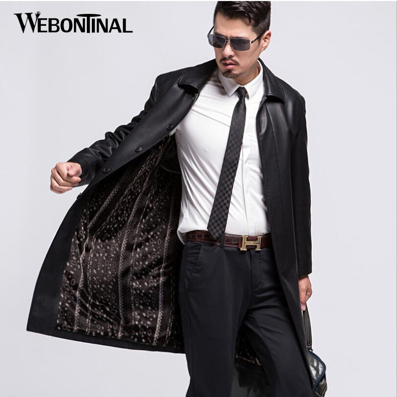 Winter PU Male Faux Leather Jacket Men Trench Coat Casual