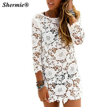 Sexy Sarongs Saida De Praia Beach Cover Up Swimwear Women Swimsuit Hollow White Lace 2016 Bikini Bordados Dress Robe De Plage