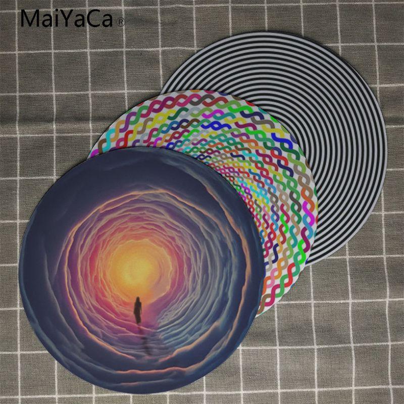 MaiYaCa Prismatique Entrelacées Cercle Vortex Unique De Bureau Pad Jeu Lockedge Tapis De Souris 20x20 cm 22x22 cm diamètre ronde tapis de souris