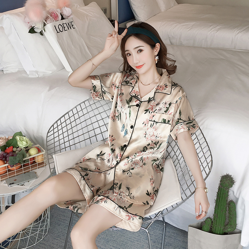 Plus Size 3XL 4XL 2019 Summer Silk Pajamas For Women Short Sleeve Ladies Pyjama Set Elegant Satin Women Sleepwear Set