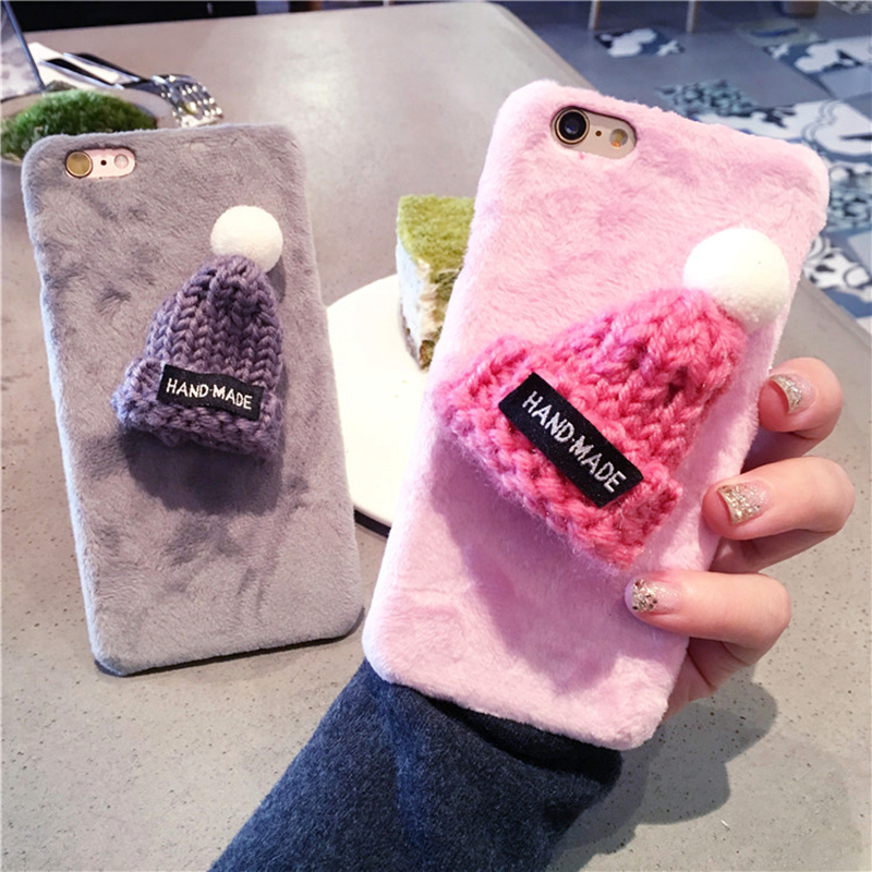 Luxury 3D Christmas <font><b>sexy</b></font> Cute Hat Warm Fur Ball Plush Hard Phone <font><b>Cases</b></font> For <font><b>iPhone</b></font> 6 <font><b>6s</b></font> 7 8 X XR XS MAX Plus Back Cover coque image