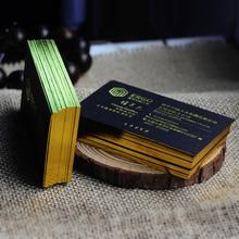 Золотая Серебряная фольга тиснение имя карты бесплатный дизайн пользовательский буквенный пресс визитная карточка печать высокое качество Толстая черная бумага печать